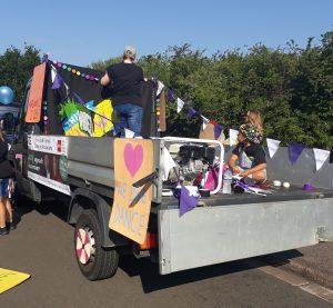 vibez danceworks carnival float being dressed